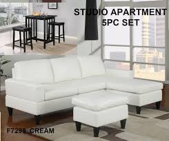 studio apartment cream faux leather sectional sofa px f7298 st