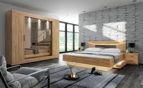 4 Tlg Schlafzimmer Doppelbett Bettkasten Schrank Nachttisch Inkl Beleuchtung 2 Holzarten F Roma