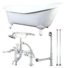 clawfoot bathtub faucet cast iron in white with combo feet installation