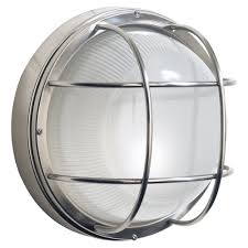 dar lighting salcombe outdoor large round bulkhead wall light stainless steel