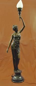 Woman Sculpture Light Signed Moreau Gorgeous Bronze Statue Lamp Glass Absolutely