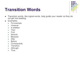 Narrative essay transitions