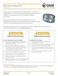Dagr Industrial Lighting Installation And Maintenance Manual