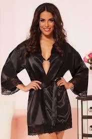 plus size silk robe black satin robe with lace trim