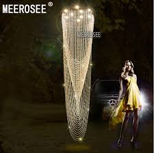 modern crystal curtain chandelier light fixture for lobby staircase stairs foyer large crystal lighting diffe sizes md2201