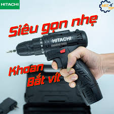 Máy khoan pin Hitachi 12V - Khoan 2 cấp tốc độ kèm pin sạc đầy đủ - Máy  khoan bắt vít - Bắn tôn - Khoan sắt - Khoan gỗ