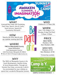 Summer Camp Weekly Schedule Ymca Of Marquette County Summer Day Camp