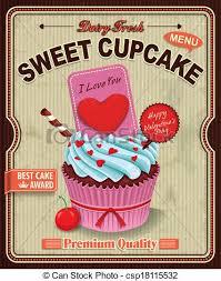 vintage cupcakes drawing. Modren Cupcakes Vintage Cupcake Poster Design Intended Cupcakes Drawing R