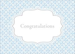 Blue Baby Scroll Congrats Congratulations Greeting Cards By