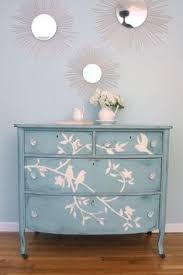 tropical painted furniture.  Furniture Blue Bird Dresser Transformation Using Chalk To Draw Design On Drawer  Faces Then Paint Over With Paint Throughout Tropical Painted Furniture