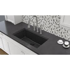 elkay elkay by schock undermount quartz composite 33 in single bowl kitchen sink in black