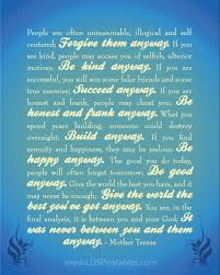 Mother Teresa Quotes Love Them Anyway Mesmerizing Mother Teresa Quote Love Them Anyway Print Best Quotes Everydays