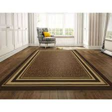 ottohome collection contemporary bordered design brown 8 ft x 10 ft area rug