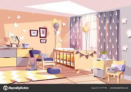 Kindergarten Baby Zimmer Innen Vektor Illustration Stockvektor