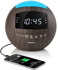 mesqool wooden dimmable alarm clock radio bluetooth speaker am fm radio aux in dual usb charging