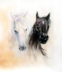 horse painting horse heads two black and white horse spirits beautiful detailed oil painting on