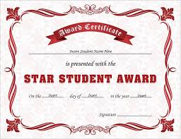Star Student Certificates Star Student Award Certificates For Ms Word Professional