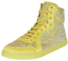 Gucci Yellow Womens Coda Satin Effect Crystal Stud High Top Sneakers Size Us 9 Regular M B