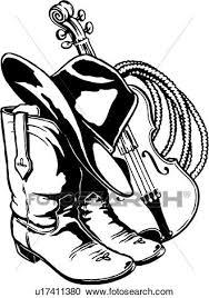 イラスト Lineart 帽子 ブーツ ロープ バイオリン 西部 クリップアート切り張りイラスト絵画集