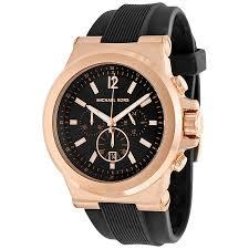 michael kors watches jomashop michael kors dylan chronograph black dial black rubber men s watch