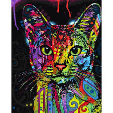 frameless abstract colorful cat animals