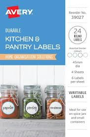 Avery Jar Labels Avery 39027 Assorted Round Kitchen Pantry Labels 45mm Diam 24 Pk