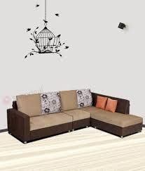 fabric sofa set. Bharat Lifestyle Nano L-Shape Cream \u0026 Brown Fabric Sofa Set 2+1+ B