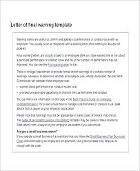 Written Verbal Warning Sample Written Warning Template Examples Attendance For Final