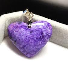 ซ อท ไหน genuine natural charoite purple women heart shape pendant newly charoite 28x23x8mm gemstone pendant drop aaaaa ในประเทศไทย