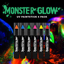 Face Crayon Designs Details About Monster Glow Uv Neon Face Body Paint Stick 6 Pack Face Paint