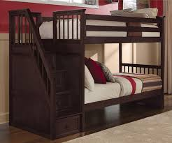 dark wood twin loft bed with stairs