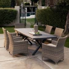 plastic patio table and chairs. bella all weather wicker patio dining set - seats 6 plastic table and chairs d