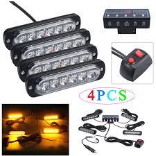 Strobe Light Led Kit Details About 4pcs 6 Led Amber Flashing Light Bar Car Truck Hazard Emergency Strobe Light Kit