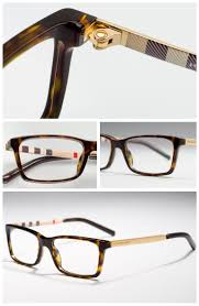 Burberry Designer Glasses Melding Hues Of Cream Red And Black Burberry Check Lines