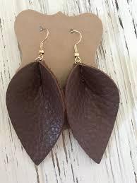 joanna gaines inspired brown petal leather earrings