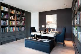 dual desks home office Home Office Transitional with black armchair black  bench. Image by: LEICHT New York LEICHT Westchester