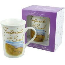 footprints in the sands mug with message gift boxed religious