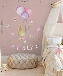 balloon wall sticker girl bunny wall