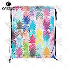watercolor pop art hawaiian pineapple tropical summer style individual nylon fabric drawstring backpack gift bag pack