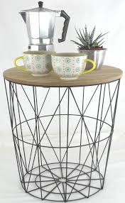 wire basket storage retro side table