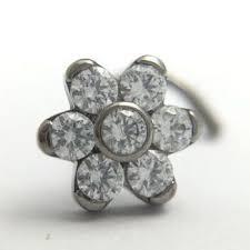 high polish anium nose piercing jewelry with 6 petals crystal gem flower end anium flower nose anium flower nose piercing