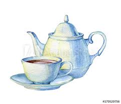teacup and teapot drawing. Exellent Teapot Hand Drawn Watercolor Illustration Of Vintage Porcelain Teacup And Teapot  On A White Background For Teacup And Teapot Drawing T