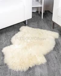 1 pelt eggshell white sheep fur rug single
