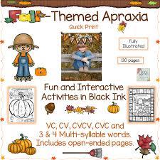 fall themed apraxia document targeting vc cv cvcv cvc  fall themed apraxia document targeting vc cv cvcv cvc 3 4 syllable words twin speech language and literacy llc