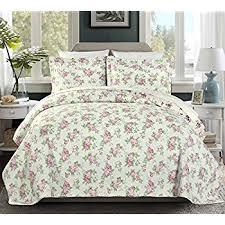 Amazon.com: Laura Ashley Lidia Cotton Quilt Set, Twin: Home & Kitchen & Chezmoi Collection 2PC 2-in-1 REVERSIBLE Pink Rose Vintage Washed 100%- Adamdwight.com