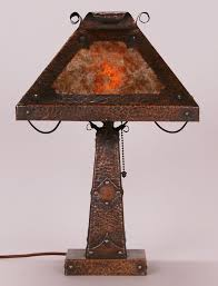 arts crafts square hammered copper and mica lamp c1910 unsigned 18 h x