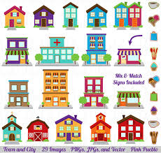 Printable Town City Etsy Art Village Clipart House Clip