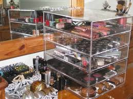 amazon clear acrylic cosmetic makeup organizer with 4 drawers flip top