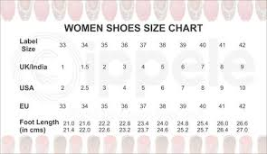 70 Genuine Size Chart For Womens Shoes