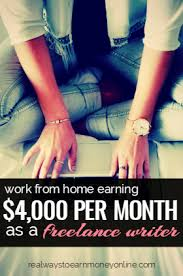 earning per month working from home as a lance writer